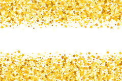 Granica z shimmer gwiazdami Złocisty błyskotanie Złota rama gwiazdy do granicy confetti royalty ilustracja