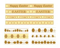 Granicy z dekoracyjnymi jajkami dla Easter wakacje - wektorowy ustawiający ornamenty ilustracja wektor