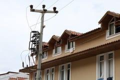 graniczącego mieszkania elektryczna instalacja obrazy stock