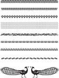 graniczy dekoracyjnych pawie royalty ilustracja