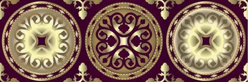 Graniczy z złotymi barokowymi elementami, złoci łańcuchy na ciemnym tle adamaszkowy bezszwowy wzór z złotymi łańcuchami royalty ilustracja