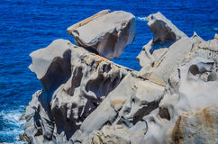 Granietrotsen op capo Testa dichtbij Santa di Gallura, Sardinige, Italië Stock Afbeeldingen