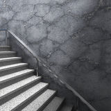 Graniettreden en concrete muur Moderne architectuurachtergrond Royalty-vrije Stock Afbeeldingen