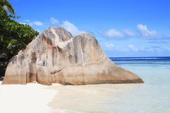 Granit rock of anse source d'argent Stock Image
