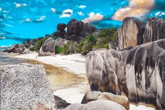 Beach Anse Source D'Argent - Nature Backround stock photography