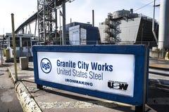 Granit-Stadt, vereinigte Zustände 10. März 2018 - US Stahleisenproduktionsanlage Illinois, Granit-Stadt-Arbeiten, Granit-Stadt, I stockbilder