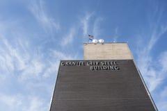 Granit-Stadt, vereinigter Zustände 10. März 2018 - US Stahl Illinois, Granit-Stadt-Arbeiten, Verwaltungsbüros, Granit-Stadt, Illi lizenzfreie stockbilder