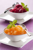 Granita. Fresh apricot granita in glass close up Stock Photography