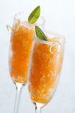 Granita. Fresh apricot granita in glass close up Royalty Free Stock Image