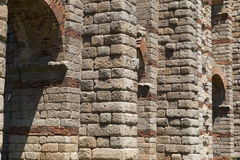 Granite ashlar of Merida Aqueduct. Roman Aqueduct of Merida Los Milagros. Extremadura, Spain. East side Stock Photo