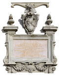 Granite bas-relief and the Latin text Royalty Free Stock Image