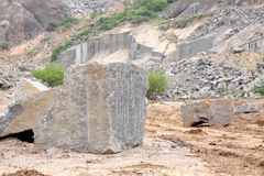 A granite block, product from granite quarry Royalty Free Stock Photography