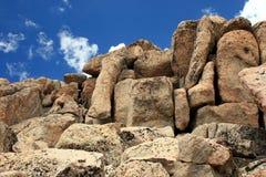 Granite Blocks. Huge blocks of pinkish-colored granite in the Rockies Royalty Free Stock Photo