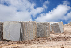 A Granite blocks extracted by wire rope & blasting Royalty Free Stock Photo