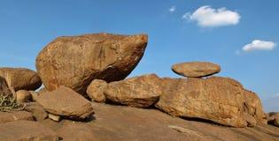 Granite boulder in Hampi popular for rock climbing Stock Photos