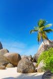 Granite Boulders on the Carana beach of Mahe island,  Seychelles Royalty Free Stock Images