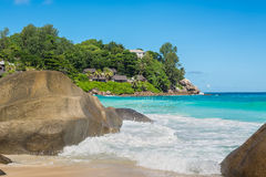 Granite boulders on Carana Beach, Seychelles Stock Images