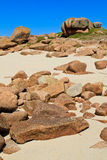 Granite boulders on french atlantic coast Royalty Free Stock Image