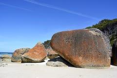 Granite boulders. Huge granite boulders on the Squeaky Beach in Wilsons Promontory National Park Stock Image
