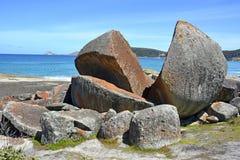 Granite boulders. Huge granite boulders on the Squeaky Beach in Wilsons Promontory National Park Stock Images