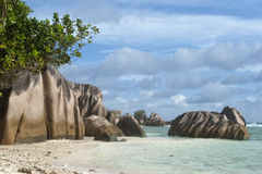 Granite boulders of La Digue Stock Photos