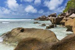 Granite Boulders in La Digue, Seychelles Royalty Free Stock Photos