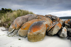 Granite boulders under storm at Tasmanian beach Royalty Free Stock Photo