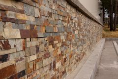 Granite brick wall perspective Royalty Free Stock Photography
