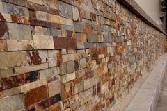 Granite brick wall perspective Stock Photography