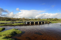 Granite Clapper Bridge on Bodmin Moor in Cornwall Royalty Free Stock Photo