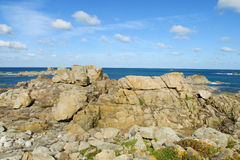 Granite coast rocks in Ploumanach royalty free stock photo