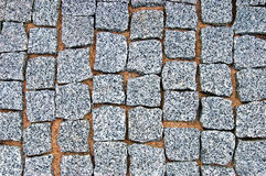 Granite Cobblestone Pavement Texture Background, Large Detailed Horizontal Stone Block Paving, Rough Cut Textured Grey Pattern Stock Photography