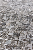 Granite cobblestone street road covered with snow stock images