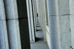 Granite Columns. Of Old Federal Building in Northern California Stock Photo