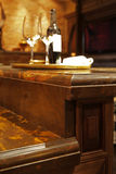 Granite counter tops and wood kitchen furniture. Stock Images