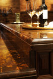 Granite counter tops and wood kitchen furniture. Beautiful detail of granite counter tops and wood kitchen furniture royalty free stock photography