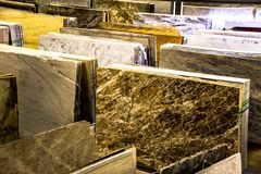 Granite countertop slabs. Kitchen counters concept royalty free stock image