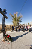 Granite cross with  names of those killed in terrorist attack Stock Photography