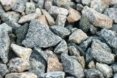 Granite crushed stone from solid rock of granular structure. royalty free stock images