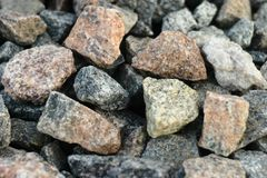 Granite crushed stone from solid rock of granular structure. royalty free stock image