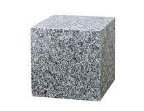 Granite cube. Isolated on white background Royalty Free Stock Images