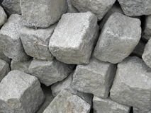 Granite cubes. Gray granite cubes on the stack Stock Photo