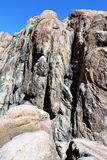 Granite Dells. Exposed bedrock and large boulders of granite, at Granite Dells, that have eroded into an unusual lumpy, rippled appearance Stock Photography