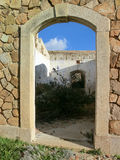 Granite door in old stone fortification, Caprera Island, Sardini. A, Italy Stock Photography