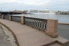 The granite embankment of the Neva river. Royalty Free Stock Photography