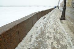 The granite embankment of the Neva. Russia.Saint-Petersburg.Embankment of the Neva river are faced with granite stone Royalty Free Stock Photos