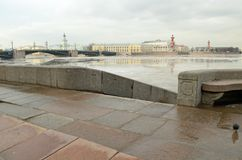 The granite embankment of the Neva. In St. Petersburg the embankment of the Neva river is lined with granite stone.This is a solid and durable material Stock Image
