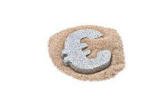 Granite Euro on sand Stock Photos