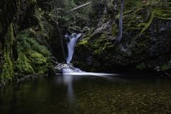 Granite Falls North Idaho. Granite Falls is a waterfall lying in the lush, green forests of North Idaho royalty free stock photo