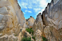 Granite gorge. Weathering and decayed granite gorge in Fujian, South of China, as featured geology landforms, with wonderful pattern and shape Royalty Free Stock Images